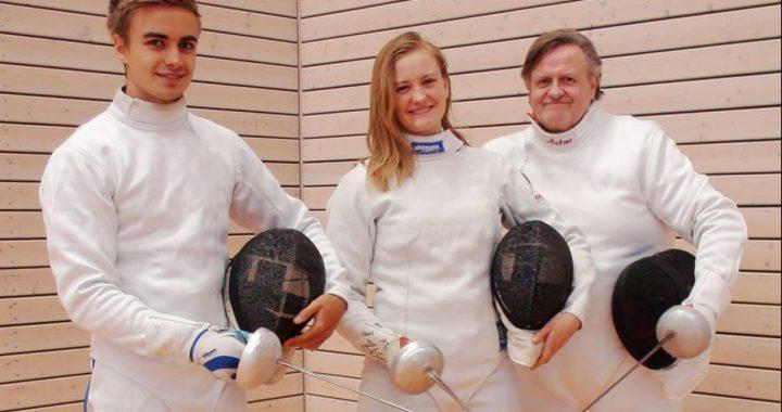 Wolfgang, Marion und Klaus Menzel mit dem Degen erfolgreich